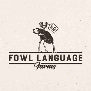 Logo design with the title 'Farm logo, with ostrich & chicken'