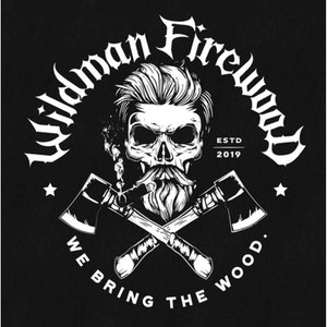 Logo design with the title 'Wildman Firewood'